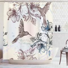 Kuş ve Çiçek Desenli Duş Perdesi Nostaljik Çeyizlik
