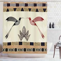 Kuş ve Çiçek Desenli Duş Perdesi Şık Geometrik Krem
