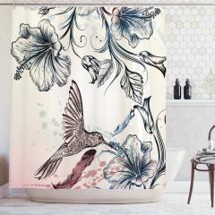 Çiçek ve Kuş Temalı Duş Perdesi Çeyizlik Şık Tasarım