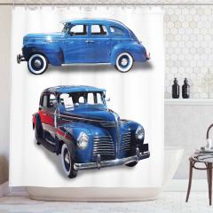 Mavi Retro Araba Desenli Duş Perdesi Nostaljik Şık