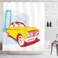 Nostaljik Araba Temalı Duş Perdesi Sarı Retro Şık