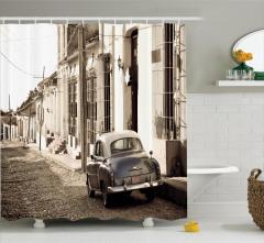 Nostaljik Araba Temalı Duş Perdesi Retro Küba Sokak