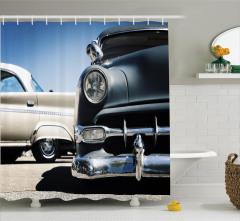 Amerikan Arabaları Temalı Duş Perdesi Nostaljik