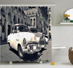 Nostaljik Araba Temalı Duş Perdesi Retro Beyaz Şık