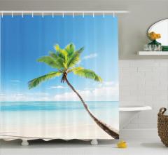 Deniz Manzaralı Duş Perdesi Palmiye Kumsal Turkuaz