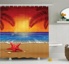 Denizde Gün Batımı Desenli Duş Perdesi Kırmızı Mavi