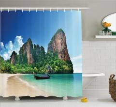 Cennet Plajı Temalı Duş Perdesi Deniz Yeşil Mavi
