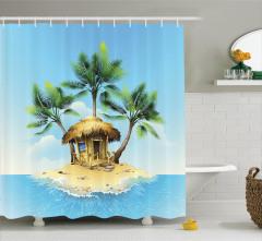 Tropikal Bungalov Desenli Duş Perdesi Turkuaz Şık