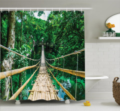 Cennet Köprüsü Temalı Duş Perdesi Doğa Huzur Yeşil
