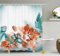 Orkide Desenli Duş Perdesi Şık Tasarım Çeyizlik Mavi