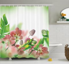 Çiçek Desenli Duş Perdesi Orkide Şık Tasarım Yeşil