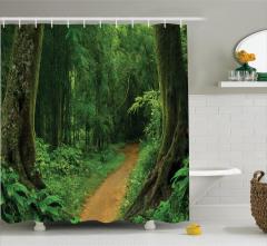 Tropikal Orman Manzaralı Duş Perdesi Yeşil Doğa Ağaç