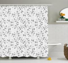 Yaprak Desenli Duş Perdesi Siyah Beyaz Şık Tasarım
