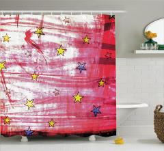Yıldız Desenli Duş Perdesi Kırmızı Sarı Lacivert