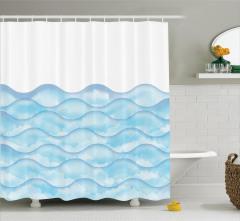Dalga Desenli Duş Perdesi Mavi Sulu Boya Şık Tasarım
