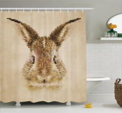 Tavşan Portreli Duş Perdesi Kahverengi Nostaljik