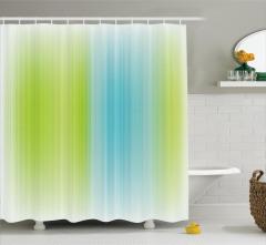 Çizgili Desenli Duş Perdesi Mavi Yeşil Şık Tasarım
