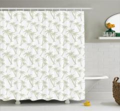 Palmiye Desenli Duş Perdesi Şık Tasarım Beyaz Trend
