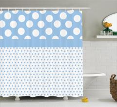 Puantiye Desenli Duş Perdesi Mavi Beyaz Şık Tasarım