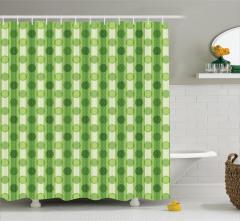 Yeşil Puantiyeli Duş Perdesi Çizgili Çeyizlik Trend