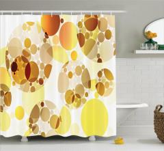 Daire Desenli Duş Perdesi Sarı Kahverengi Çeyizlik