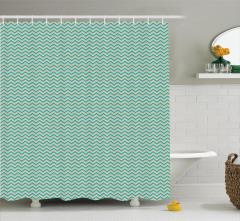 Yeşil Zikzak Desenli Duş Perdesi Modern Dekoratif