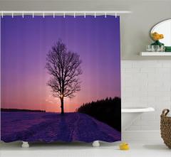 Kış Temalı Duş Perdesi Gün Batımı Ağaç Orman Mor