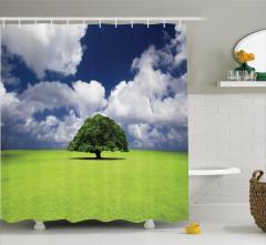 Yaz Mevsimi Temalı Duş Perdesi Yeşil Yaşlı Ağaç
