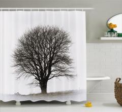 Siyah Beyaz Duş Perdesi Sonbahar Nostaljik Ağaç