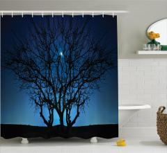 Ay Işığı ve Yıldızlar Temalı Duş Perdesi Ağaç Siyah