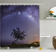 Yıldızlı Gece Temalı Duş Perdesi Gökyüzü Manzaralı