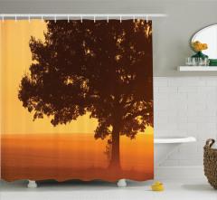 Ağaç Desenli Duş Perdesi Çiftlikte Gün Doğumu Sarı