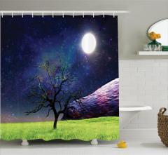 Ağaç Desenli Duş Perdesi Ay Işığı Kozmos Evren Mor