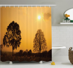Doğada Gün Doğumu Duş Perdesi Ağaç Orman Sarı Siyah