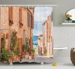 Bahar Temalı Duş Perdesi Eski Akdeniz Kasabası