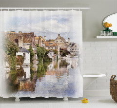 Brugge Kanalı Manzaralı Duş Perdesi Gotik Mimari