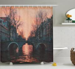 Amsterdam Gün Batımı Manzaralı Duş Perdesi Romantik