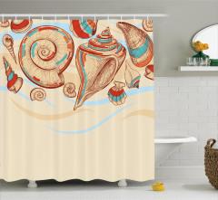 Deniz Kabuğu Dekor Duş Perdesi Pastel Renkler Eskiz
