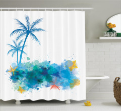Tropikal Ada Temalı Duş Perdesi Palmiye Ağaçları