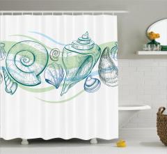 Deniz Kabuğu Desenli Duş Perdesi Pastel Eskiz Yeşil