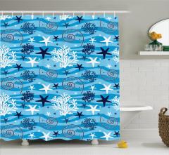 Sualtı Yaşam Temalı Duş Perdesi Deniz Yıldızı Mavi