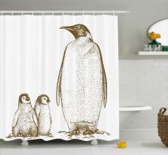 Penguen ve Yavruları Temalı Duş Perdesi Siyah Beyaz