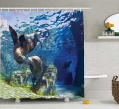 Denizaslanı Temalı Duş Perdesi Lacivert Su Altı