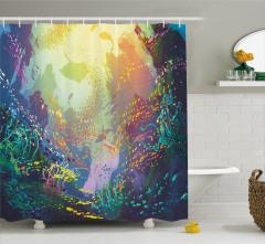 Akvaryum Temalı Duş Perdesi Su Altı Rengarenk Balık
