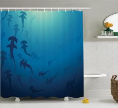 Köpek Balığı Desenli Duş Perdesi Su Altı Lacivert