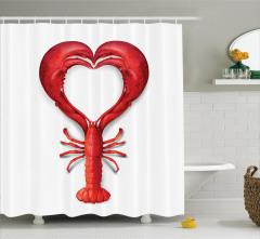 Kırmızı Kalp Desenli Duş Perdesi Istakoz Beyaz Aşk