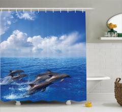 Yunus Temalı Duş Perdesi Mavi Deniz Gökyüzü Bulut