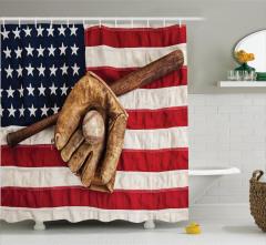 Beyzbol Temalı Duş Perdesi Kahverengi ABD Bayrağı