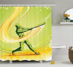 Beyzbolcu Temalı Duş Perdesi Sarı Yeşil Oyuncu Sopa