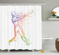 Beyzbolcu Desenli Duş Perdesi Rengarenk Beyaz Fon